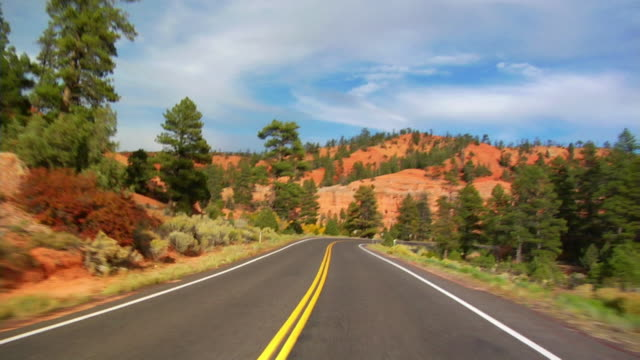 pov, car driving through red canyon, dixie national forest, utah, usa - canyon stock videos and b-roll footage
