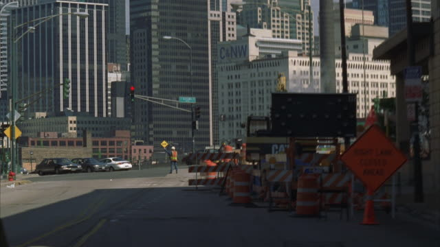 POV, SHAKY, Car driving through road construction barriers, Chicago, Illinois, USA