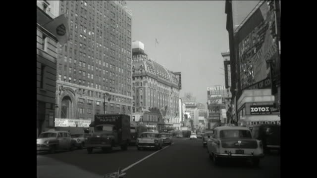 stockvideo's en b-roll-footage met car pov driving through times square; 1957 - 1957