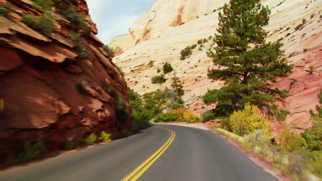 vidéos et rushes de pov, car driving through zion national park, utah, usa - roche sédimentaire