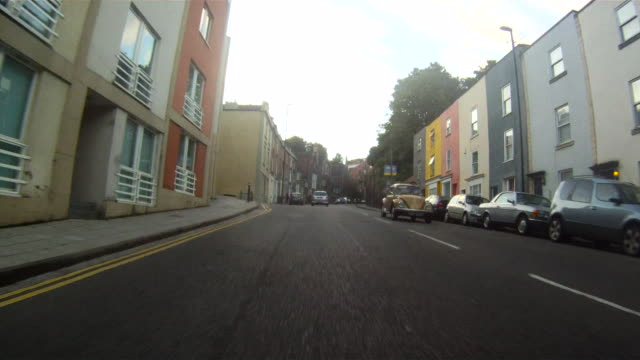 pov car driving up steep hill, bristol, england - bristol england stock videos & royalty-free footage