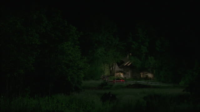 a car driving up to a cabin in the woods. - capanna di legno video stock e b–roll