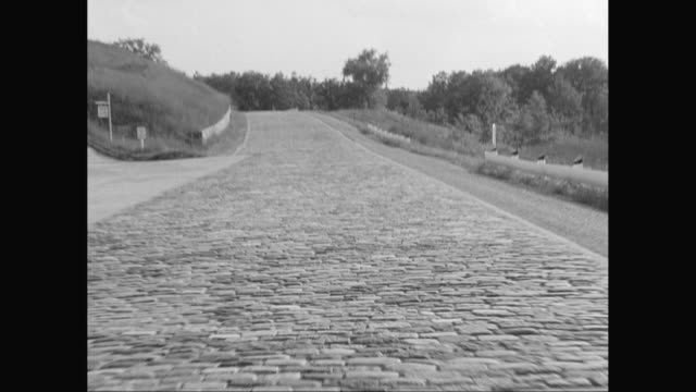 WS Car POV Empty cobblestone road with trees in background / United States