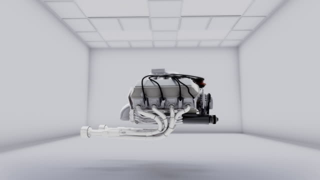 Car engine rotates in space