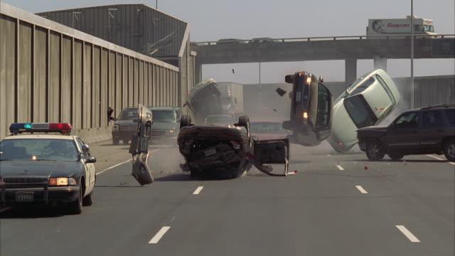 ws pov slo mo car exploding and crashes - incidente automobilistico video stock e b–roll