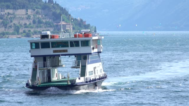 Car ferry on the lake, Limone sul Garda, Lake Garda, Lombardy, Italy