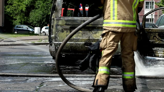 car fire emergency - fire hose stock videos and b-roll footage