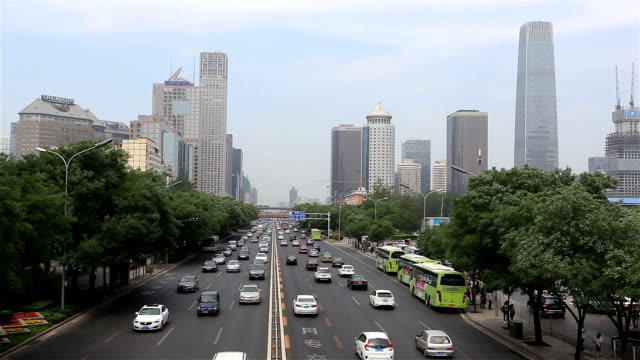 vídeos de stock e filmes b-roll de car flow in beijing cbd guomao, china - 1 minuto ou mais