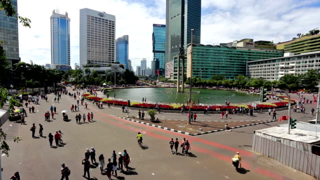 car free day on jakarta main avenue in the business district - indonesia stock videos & royalty-free footage