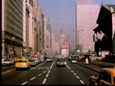 1960 montage car pov heading north on michigan avenue with the art institute on right / aerial over lake shore drive and oak street beach / chicago, illinois, usa - 1960 stock-videos und b-roll-filmmaterial