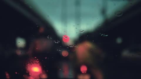 car in the rain at city - bangkok stock videos & royalty-free footage