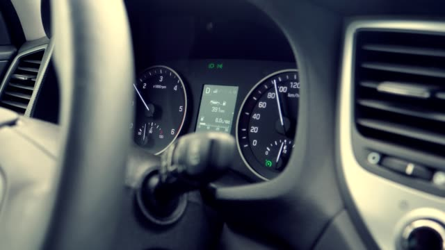 car interior. close up on dashboard - speedometer stock videos & royalty-free footage