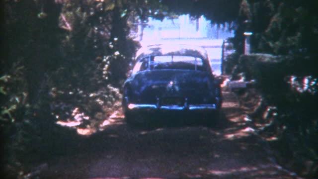 car leaves home 1950 - pasadena california stock videos & royalty-free footage