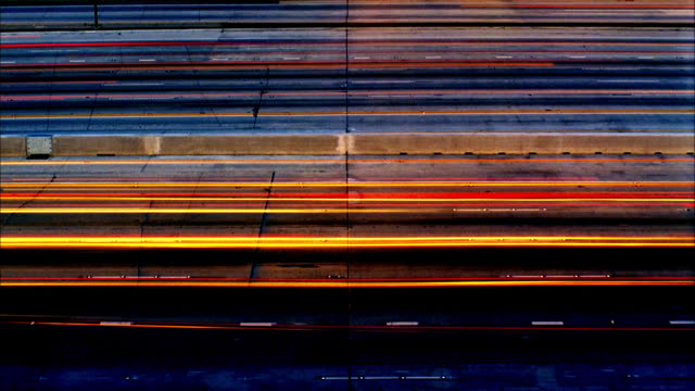 T/L, WS, HA, Car light trails on freeway at night, abstract, Los Angeles, California, USA