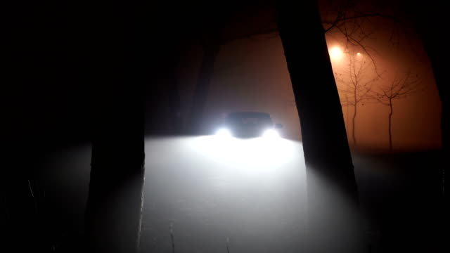 car lights beaming background.mysterious car in the woods, horror scene - parking stock videos & royalty-free footage