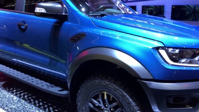 car maker ford has used the first day of video games show gamescom to unveil a new pickup truck that will also appear in a popular racing simulation... - ford marca di veicoli video stock e b–roll