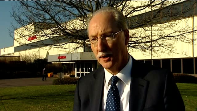 job losses at honda ext setup and interview with david hodgetts sot disappointed this has had to happen / is impact locally reporter to camera - ホンダ点の映像素材/bロール