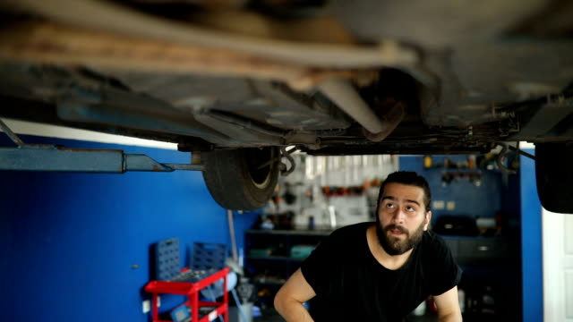 Car mechanic working at workshop