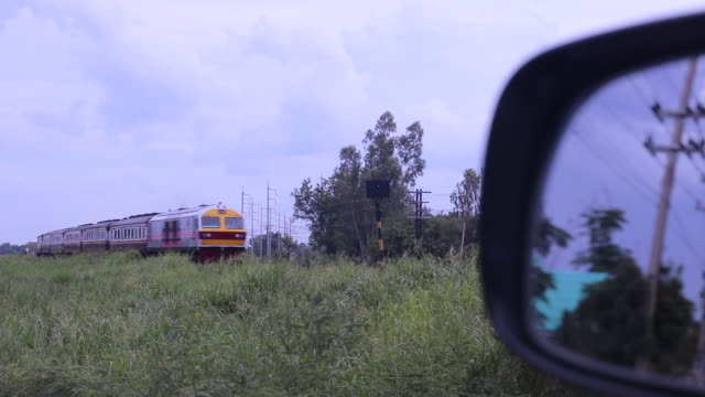 car mirror with rustic train. - stationary stock videos & royalty-free footage