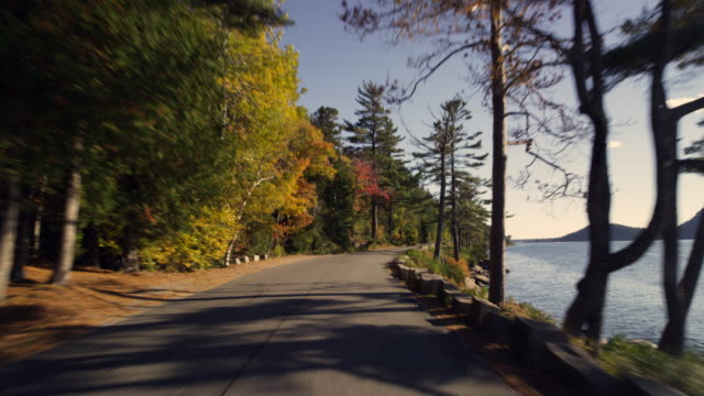 Car mounted to car as it drives on Sergeants Drive on MT Desert Island Maine in autumn