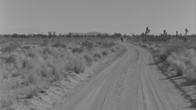 WS POV Car moving and man walking on road at desert
