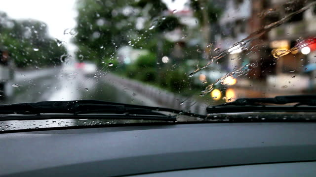 Car moving forward during rainy season