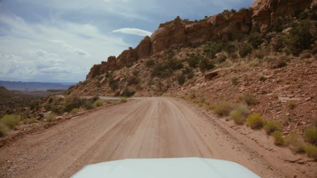 pov車オフ道路運転フラット砂渓谷、モアブ - ロッキー山脈点の映像素材/bロール