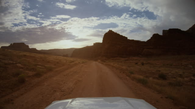 pov car off road driving near canyonlands, moab - 4x4 stock videos & royalty-free footage