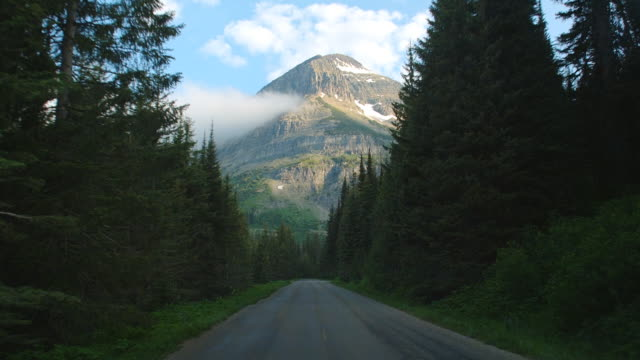 vídeos de stock, filmes e b-roll de car pov on the going to the sun road through glacier national park, montana. - ponto de vista de filmagem
