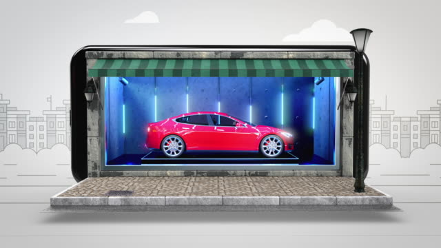 car online shopping - alpha channel - 4k resolution - display cabinet stock videos & royalty-free footage
