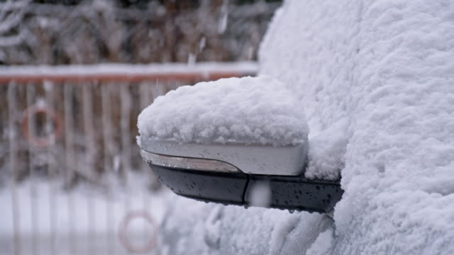 slo mo car parked in snow - stationary stock videos & royalty-free footage