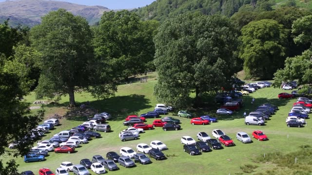 car parking at the annual ambleside sports event, ambleside, lake district, united kingdom. - parking stock videos & royalty-free footage