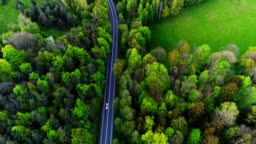 Car passing highway aerial view