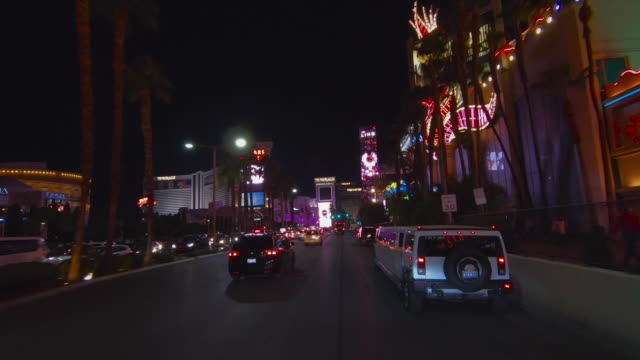 car perspective driving down las vegas strip at night, nevada, united states of america - general motors stock videos & royalty-free footage
