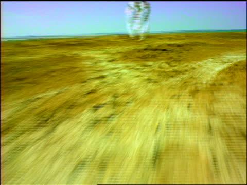 vídeos de stock, filmes e b-roll de fast shaky car point of view close up towards senior man in toga standing in desert holding fishing rod / panama - só um homem idoso
