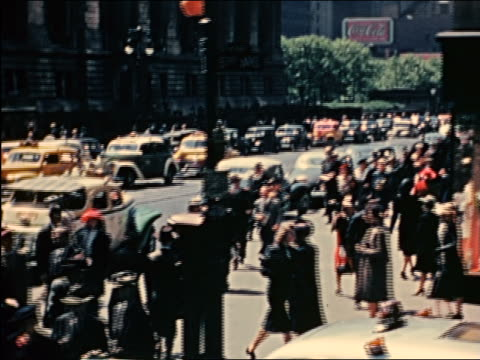 1941 car point of view crowd walking past NY Public Library / Fifth Ave. + 42nd St. / industrial