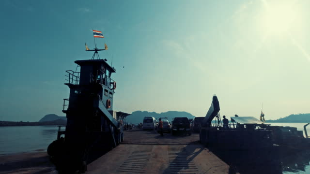 car point of view driving onto ferry boat from ko lanta to mainland krabi province thailand - ross sea stock videos & royalty-free footage