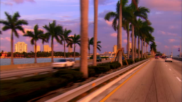 car point of view in traffic on macarthur causeway/ miami, florida - マイアミ点の映像素材/bロール