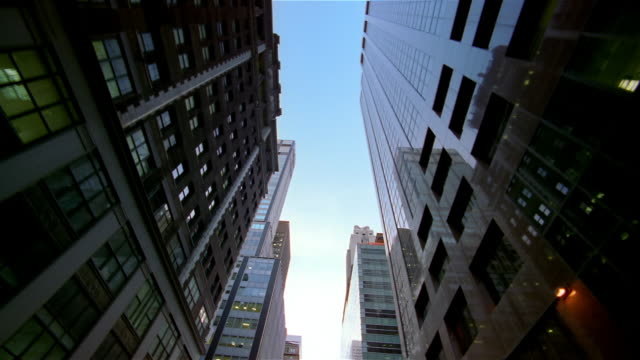 Car point of view looking up at skyscrapers / New York City