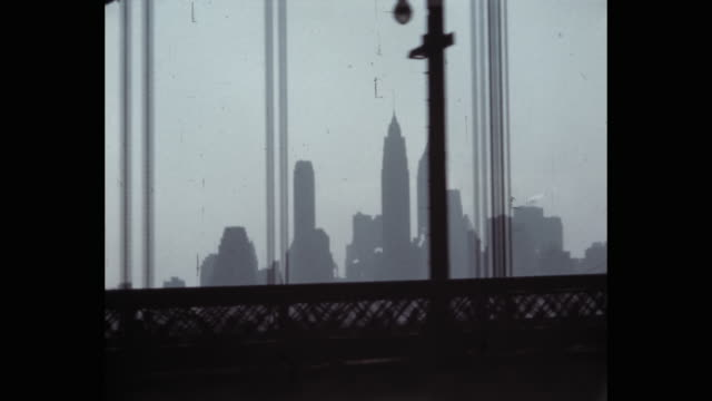 car point of view of skyline seen from manhattan bridge, new york city, ny, usa - cable stayed bridge stock videos & royalty-free footage