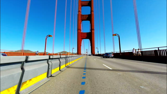 Car point of view of the Golden Gate Bridge in San Francisco CA
