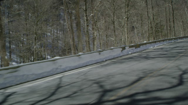 car point of view of vehicles driving on mountain road passing by forest during winter - winter点の映像素材/bロール