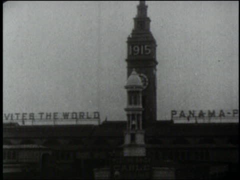 B/W 1915 car point of view toward Ferry Building at PanamaPacific Expo / San Francisco World's Fair