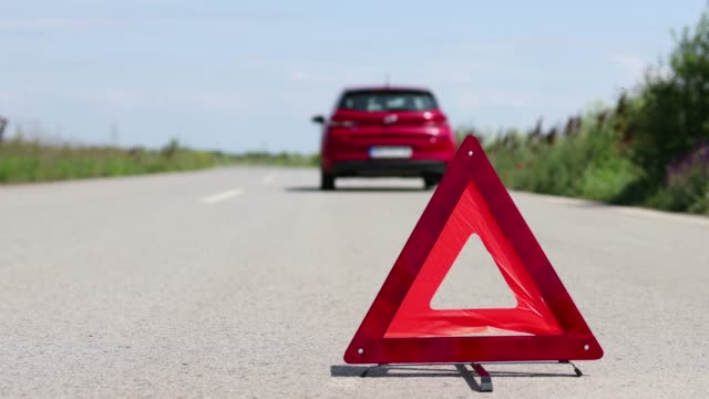 car problem on the road - road warning sign stock videos & royalty-free footage
