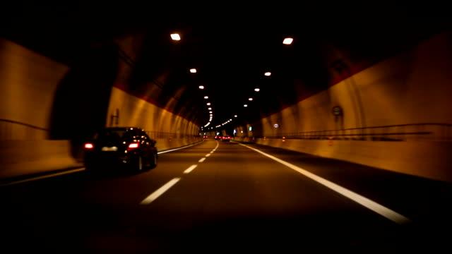 car ride in a tunnel - tunnel video stock e b–roll