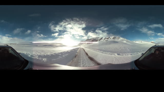 car ride on snowy roads part 2 - monoscopic image stock videos & royalty-free footage