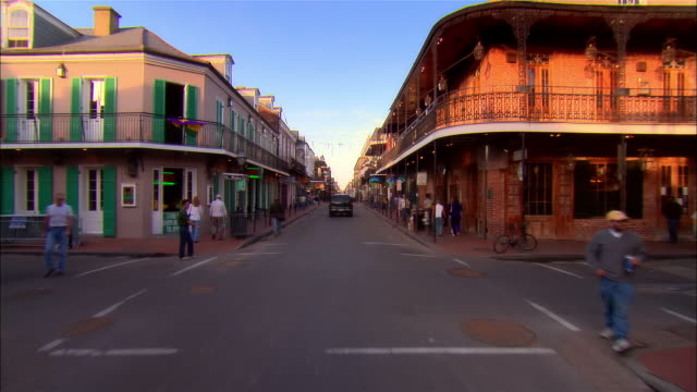 pov car riding on bourbon street, new orleans, louisiana, usa - vanishing point stock videos & royalty-free footage