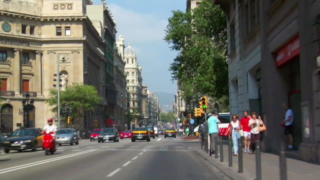 POV, Car riding through city, Barcelona, Spain