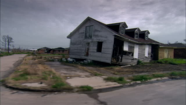 side pov car riding through destroyed residential area, gentilly, new orleans, louisiana, usa - new orleans stock-videos und b-roll-filmmaterial