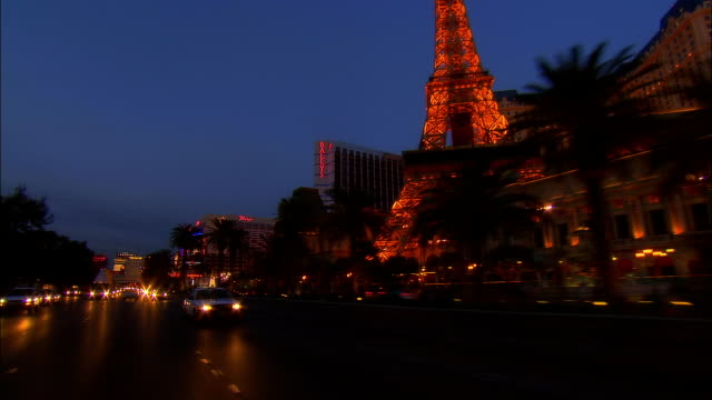 3/4 REAR POV, Car riding through Las Vegas at night, Nevada, USA